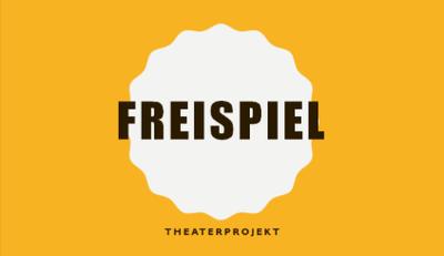 Logo des Theaterprojekts Freispiel gelb/weiß.