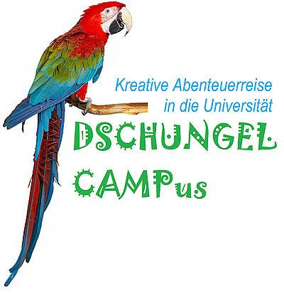 Logo Sommercamp 2015 Dschungel CamPus mit einem Papagei