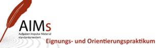 Das Logo zeigt eine rote Feder. AIMs Eignungs- und Orientierungspraktikum.