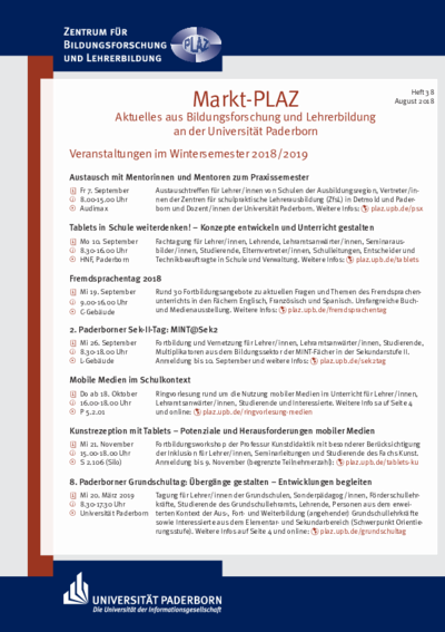 Markt-PLAZ, Aktuelles aus Bildungsforschung und Lehrerbildung an der Universität Paderborn, Heft 38, August 2018