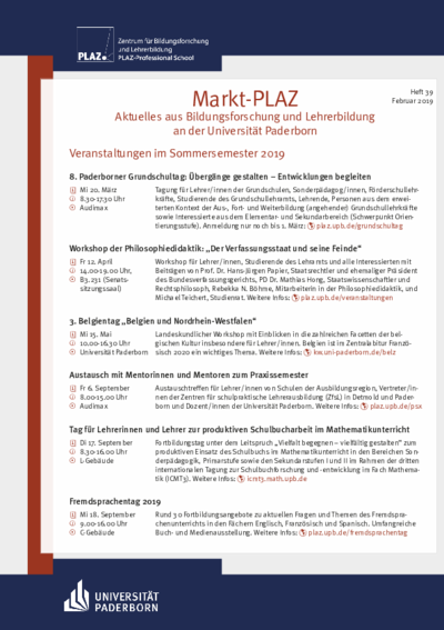 Markt-PLAZ, Aktuelles aus Bildungsforschung und Lehrerbildung an der Universität Paderborn, Heft 39, Februar 2018