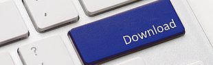 Das Bild zeigt einen Ausschnitt einer Tastatur, bei dem eine Taste durch eine blaue Taste mit der Aufschrift Download ersetzt ist.