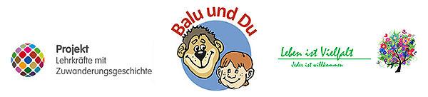 Logos der Kooperationspartner Projekt Lehrkräfte mit Zuwanderungsgeschichte, Balu und du Bär und Kind auf blauem Kreishintergrund und der hochschulgruppe Leben ist vielfalt, jeder ist willkommen mit einem bunten Baum der Vielfalt
