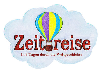 Logo Sommercamp Zeitreise Luftballon vor einer Wolke