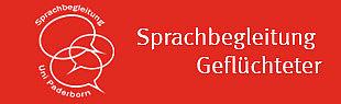 Auf der linken Seite sind weiße Sprechblasen und auf der rechten Seite steht in weiß Sprachbegleitung Geflüchteter auf rotem Hintergrund. An den Sprechblasen steht Sprachbegleitung und Uni Paderborn.