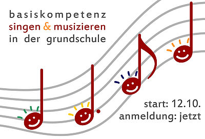 Logo des Peojekts Basiskompetenz Stimme und Singen mit Kindern. Es zeigt eine geschwungene Notenlinie mit Notenschlüsseln die lächelnde Smileys beinhalten.