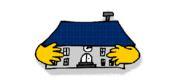 Logo der Schul-Kontaktbörse. Das Logo zeit ein Haus mit einem blauen Dach, das zwei gelbe Arme besitzt.