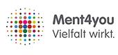 Logo des Projekts Ment4you Vielfalt wirkt. Auf der linken Seite befinden sich bunte Punkte in einem Kreis angeordnet, die von innen nach außen kleiner werden.
