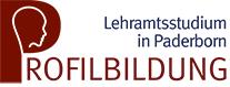Logo Profilbildung Lehramtsstudium in Paderborn. In dem P von Profilbildung ist der Umriss eines Kopfs auf rotem Hintergrund.