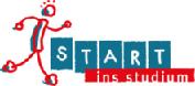 Logo Start ins Studium. Links ein Strichmännchen in rot und blau. Start in weißen Buchstaben auf blauen Kästen und ins Studium auf rotem Hintergrund.
