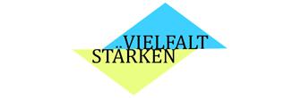 Logo Vielfalt stärken. Vielfalt steht auf einem blauen Dreieck und Stärken auf einem gelben darunter.