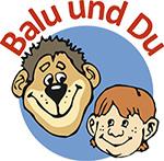 Logo des Projekts Balu und Du. Das Logo zeigt ein freundliches Gesicht eines Bären der ein ebenfalls freundliches Gesicht eines Kindes anschaut.
