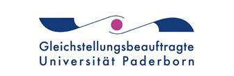Logo Gleichstellungsbeauftragte Universität Paderborn. Das Logo zeigt zwei waagerecht geschwungene Linien und einen Punkt.
