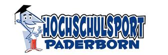 Logo des Hochschulsports Paderborn. Neben dem Schriftzug ist eine Figur, die einen Doktorhut und Sportkleidung trägt und einen Daumen hoch zeigt.
