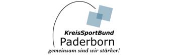 Logo des Kreissportbund Paderborn, gemeinsam sind wir stärker! Über dem Schriftzug sind zwei an einer Ecke übereinander liegende Quadrate mit einer geschwungenen Linie zum Schriftzug.